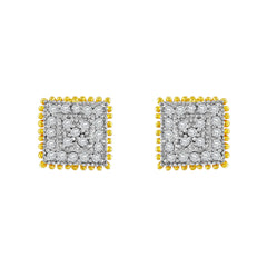Asmitta Fascinating Square Shape American Diamond Gold Plated Stud Earring For Women
