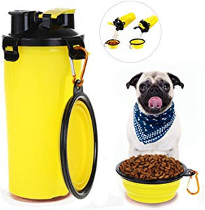 Travel 2 in 1 Dog Food Container with Water Bowl
