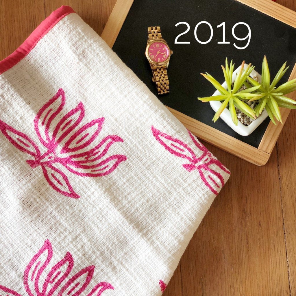 Pink Blockprinted Lotus Tea Towel Set