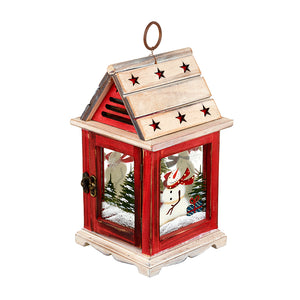 Red Wooden Lantern with Snowman
