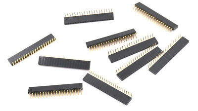 Female Single Row Right Angle Header Strips - Various Sizes - 10 Pack from PMD Way with free delivery worldwide