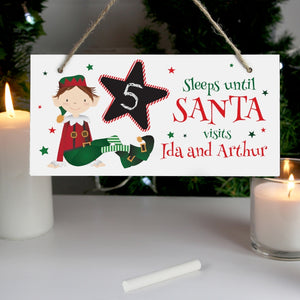 Christmas Elf Chalk Countdown Sign