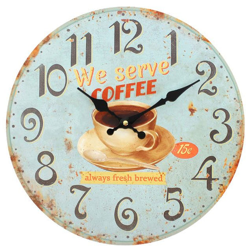 Distressed Look Coffee Wall Clock