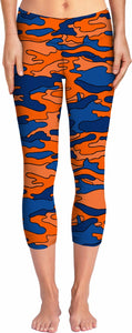Blue and Orange Camo Yoga Pants