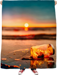 Lights at the Beach Fleece Blanket