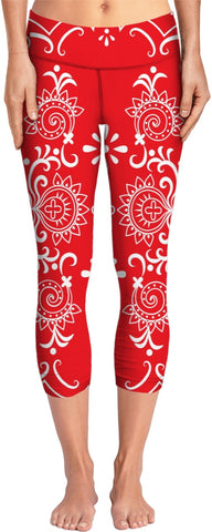 Red And White Bandana Style Yoga Pants