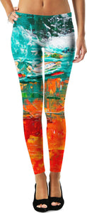 Acrylic Paint Orange and Teal Leggings