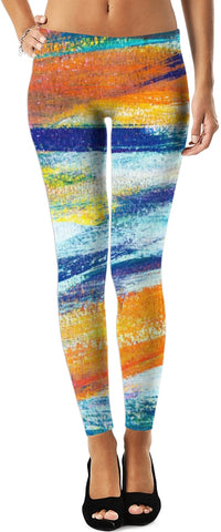 Abstract Blue And Orange Twist Leggings