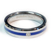 thin blue line police ring silver tungsten carbide with a cubic zirconia 5 mm width