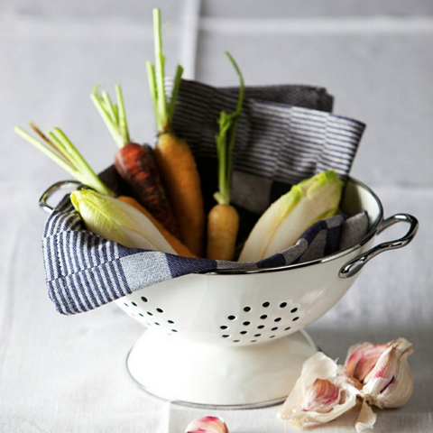 Blue Checkered Tea Towel by DDDDD in a white colander with vegetables.