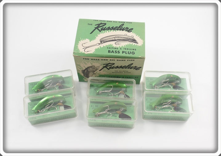 Russelure Dealer Box Of Six Lures: Green Model 2 1/8