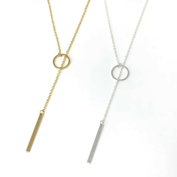 Dainty circle bar lariat necklace - minimalist jewelry