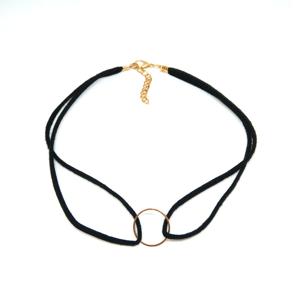 Gold open circle black choker - minimalist choker