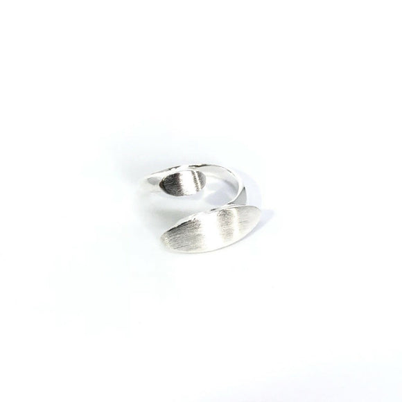 Silver geometric twist open ring