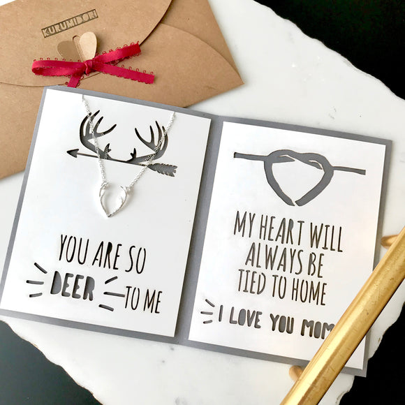 dainty deer antler necklace in gold/silver/rose gold with custom mother's day card - meaningful personalized jewelry gift for mom -
