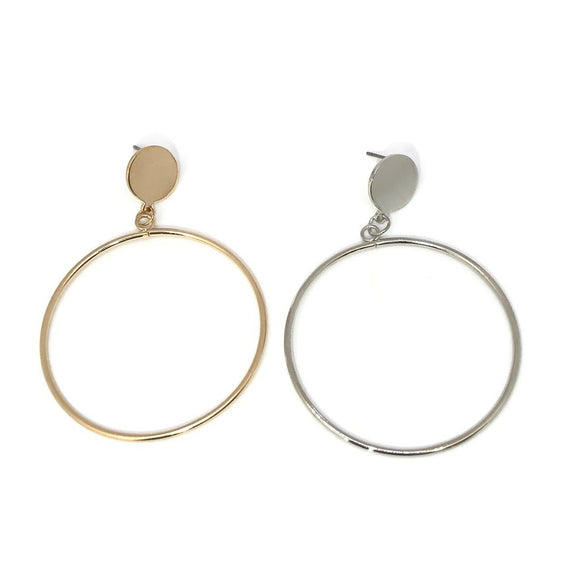 Double circle large hoop earrings in gold/silver - Geometric earrings