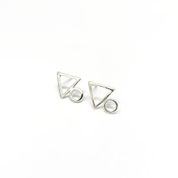 Silver Geometric Tiny Stud Earrings - Triangle circle studs
