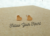 Rose gold dainty heart stud earrings - Follow your heart