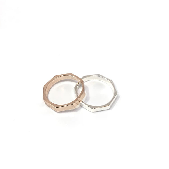 Octagon shape ring in rose gold and silver
