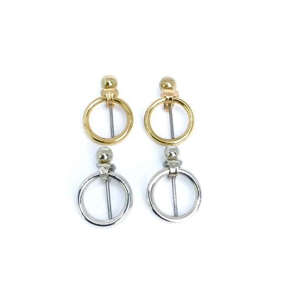 minimalist circle ear jacket in gold and silver
