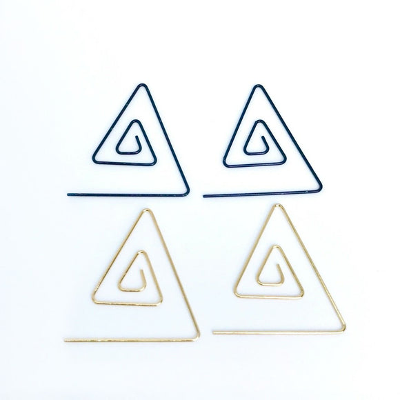 Spiral triangle wire hoop earrings in gold/silver/black