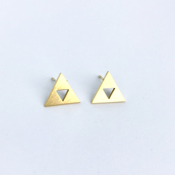 The legend of Zelda inspired tiny gold Triforce stud earrings for Zelda fans