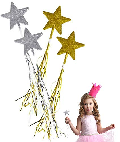"Play Kreative Glitter Star Fairy Princess Magic Wand 19""- 12 Pack Gold and Silver with Long Tassels-Shiny Glitter, Dress up Accessories for Kids"