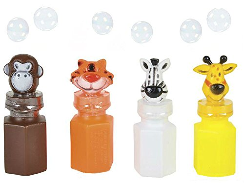 12 Children Zoo Animal Bubble Bottles - Pack of 12 Kids Jungle Characters Bottle - PlayKreative.com