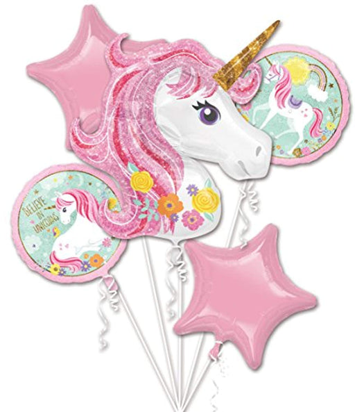 Magical Unicorn Foil Balloon Bouquet  - 5 Pc