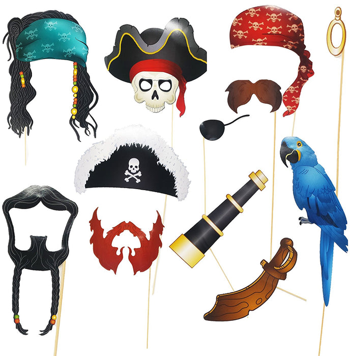 Play Kreative Pirate Photo Booth Props Set - Fun Pirate Party Supplies for Kids - PlayKreative.com