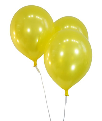 Metallic Yellow 12 Inch Latex Balloons - Pack of 100 Pieces