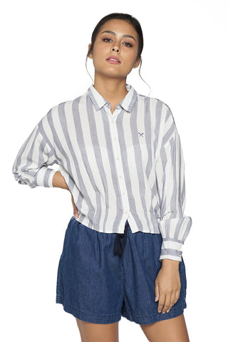 Short Sleeve Poplin Shirt With Side Taping Detail
