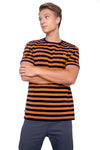 Striped Regular Fit Tee With Contrast Neck Ribbing