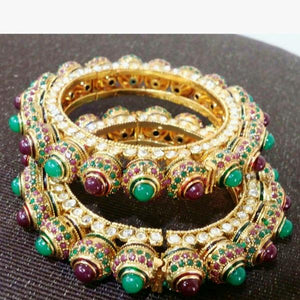 Traditional Ruby And Emeralds Bangle Pair