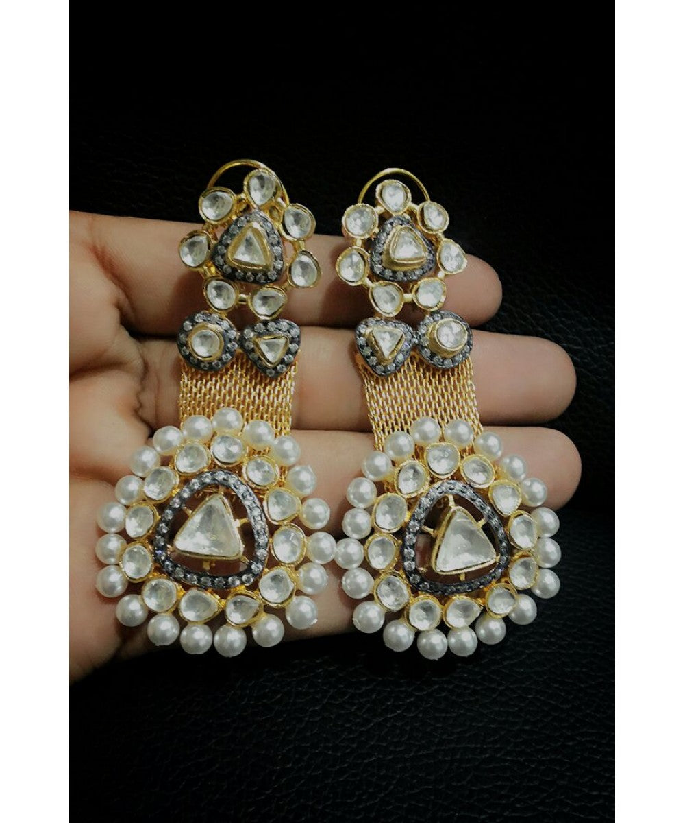 Designer Gold Plated Pearl Earrings