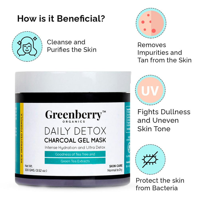 Daily Detox Charcoal Gel Mask - Greenberry Organics