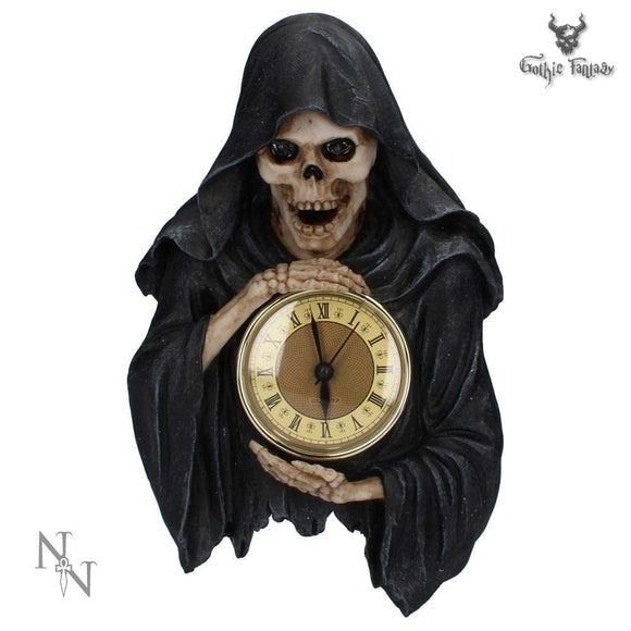 Darkest Hour Grim Reaper Wall Clock - Reaper Holding A Clock 28cm - Gothic Fantasy Store