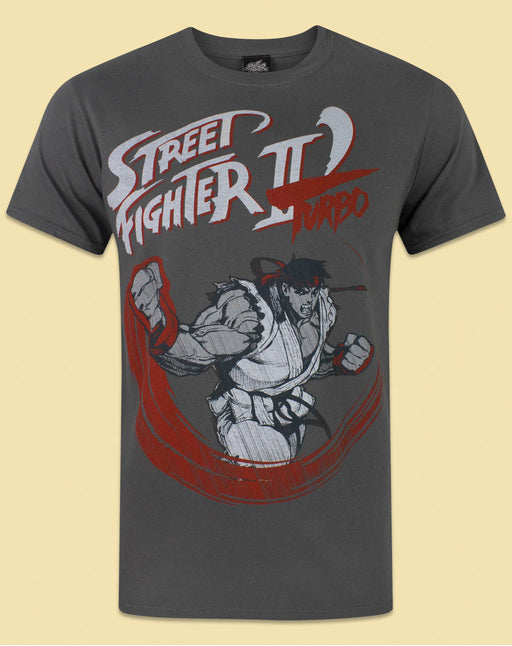 Street Fighter Turbo Men's Charcoal T-Shirt