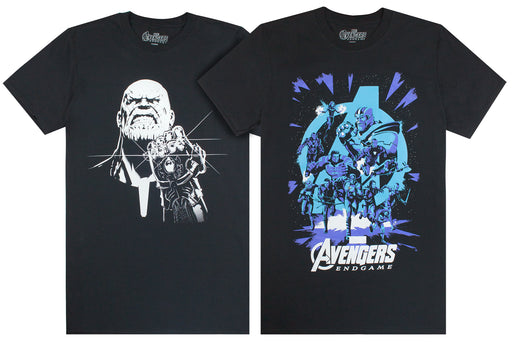 Marvel Avengers End Game Thanos Monochrome Galactic Print Mens T-Shirts 2 Back Bundle