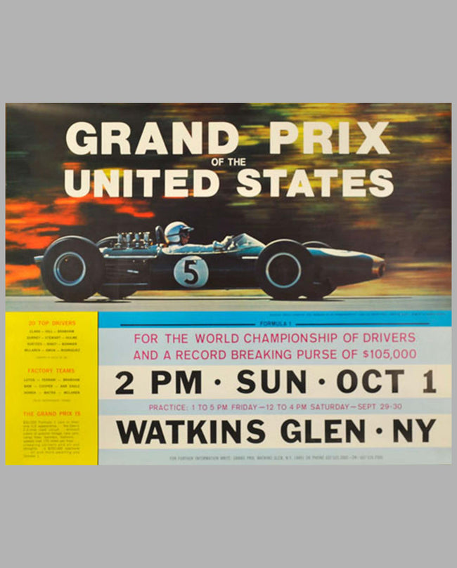 1967 Grand Prix of the United States at Watkins Glen original event poster