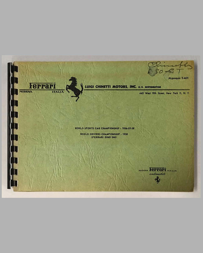 Ferrari 250 Granturismo (GT) original factory owners manual cover