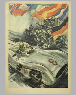 1954 1955 Mercedes Benz original victory poster by Hans Lisa, front