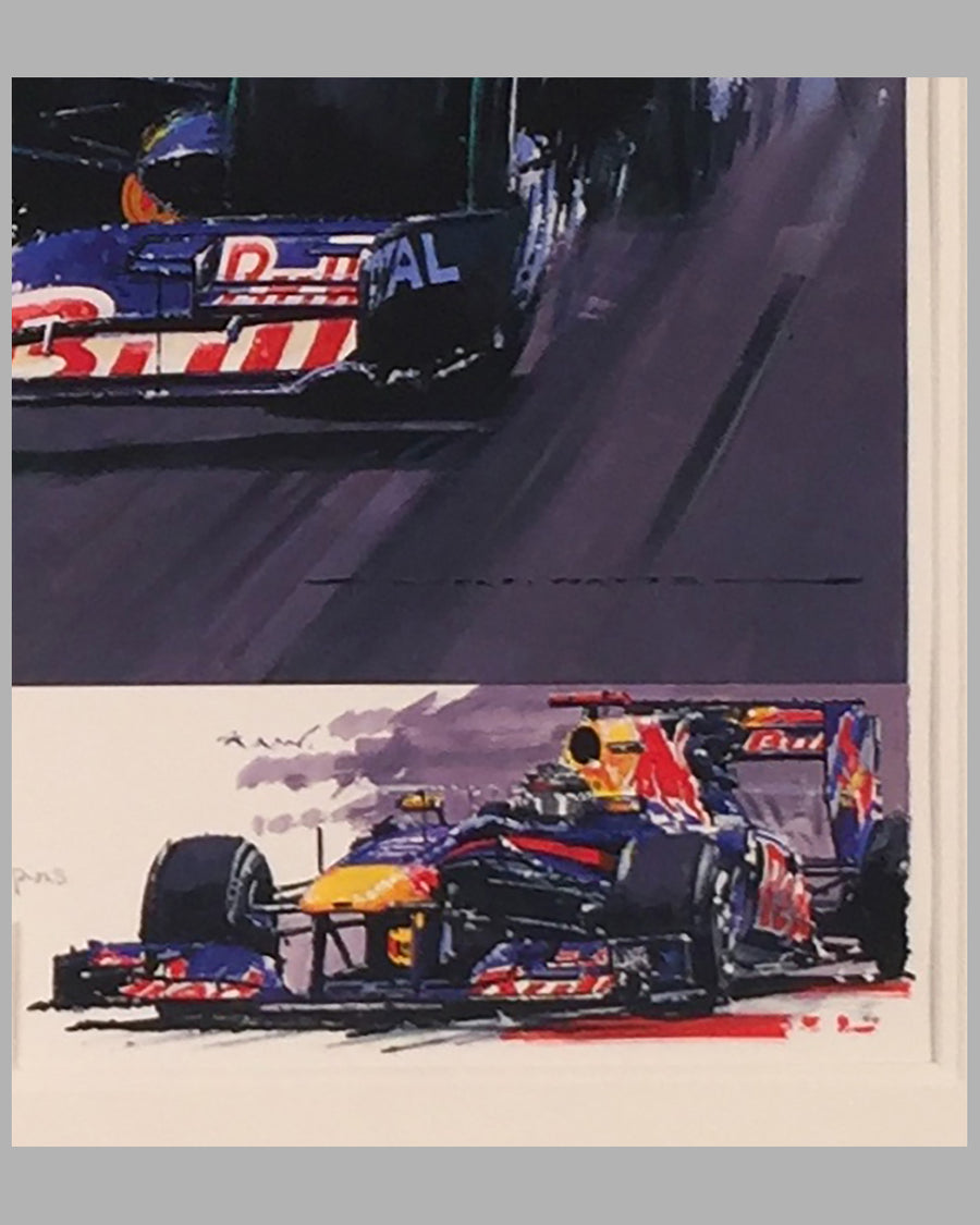 Raging Bulls giclee by Nicholas Watts, autographed by 2 drivers & owner 2
