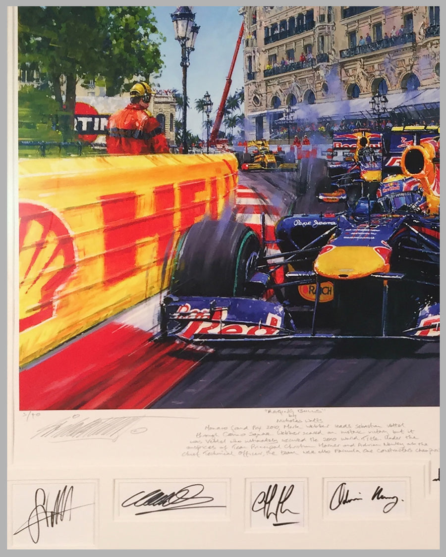 Raging Bulls giclee by Nicholas Watts, autographed by 2 drivers & owner 3
