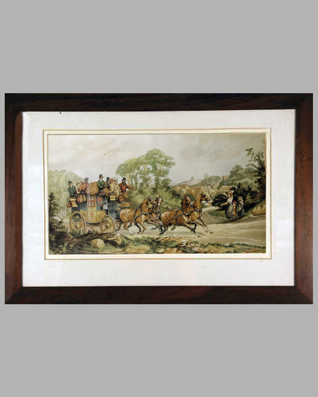 Stage Coach lithograph by Dorothy Hardy