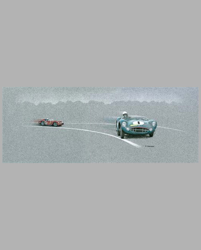 Stirling Performance: Nurburgring 1000 km-1959 Prismatic pencils on gray archival stock by Paul Chenard
