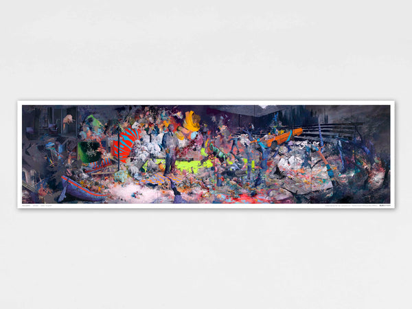 Jonas Burgert: panoramic print of monumental 22 metre painting,