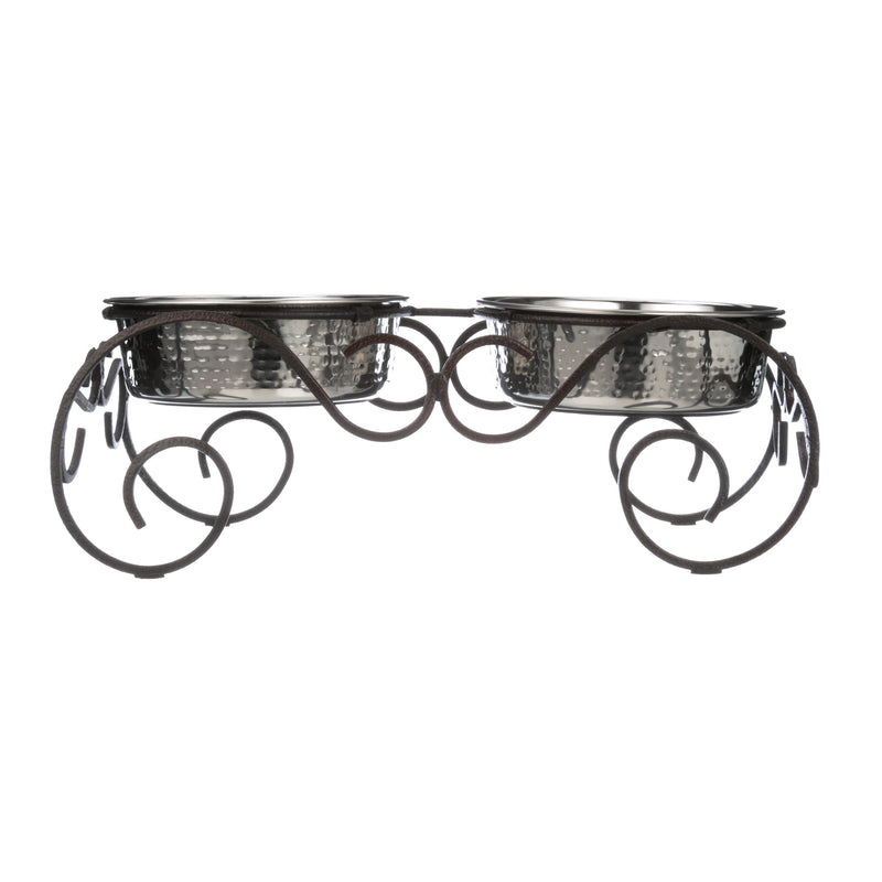 Lorelei Wrought Iron Feeder with Hammered Stainless Steel Bowls