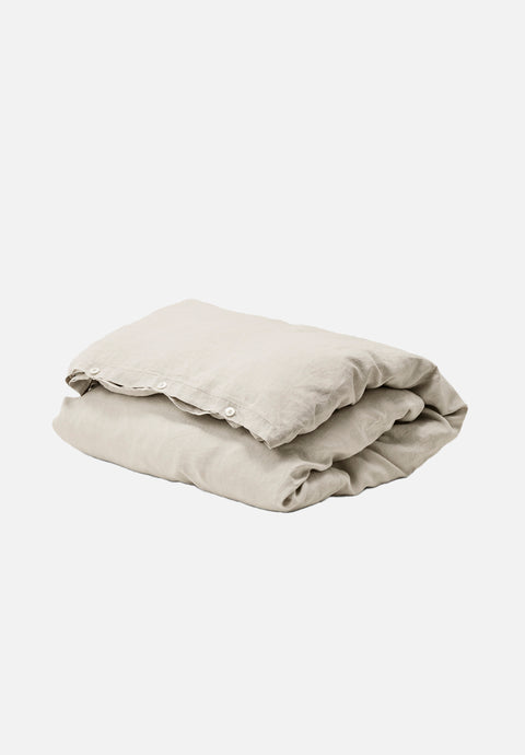 French Linen Duvet — Sand Grey