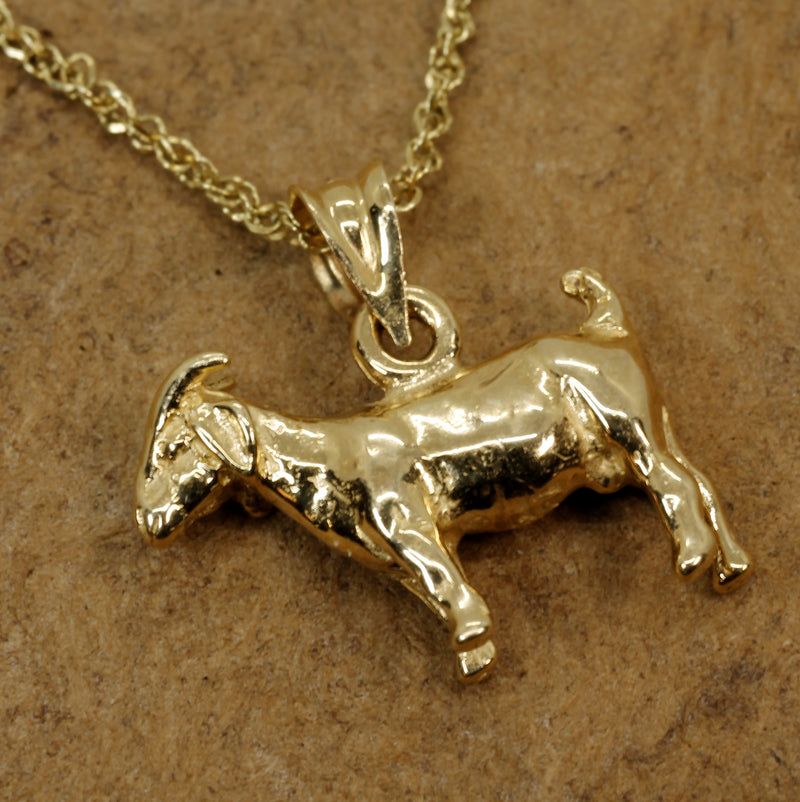 Gold Goat Necklace with a Solid 14kt Yellow Gold 3-D Boer Goat